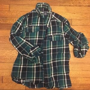 Aqua and Navy plaid flannel button up